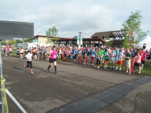 Crossing the finish line. You can tell I'm not a serious runner, because I slowed down to wave at the camera.